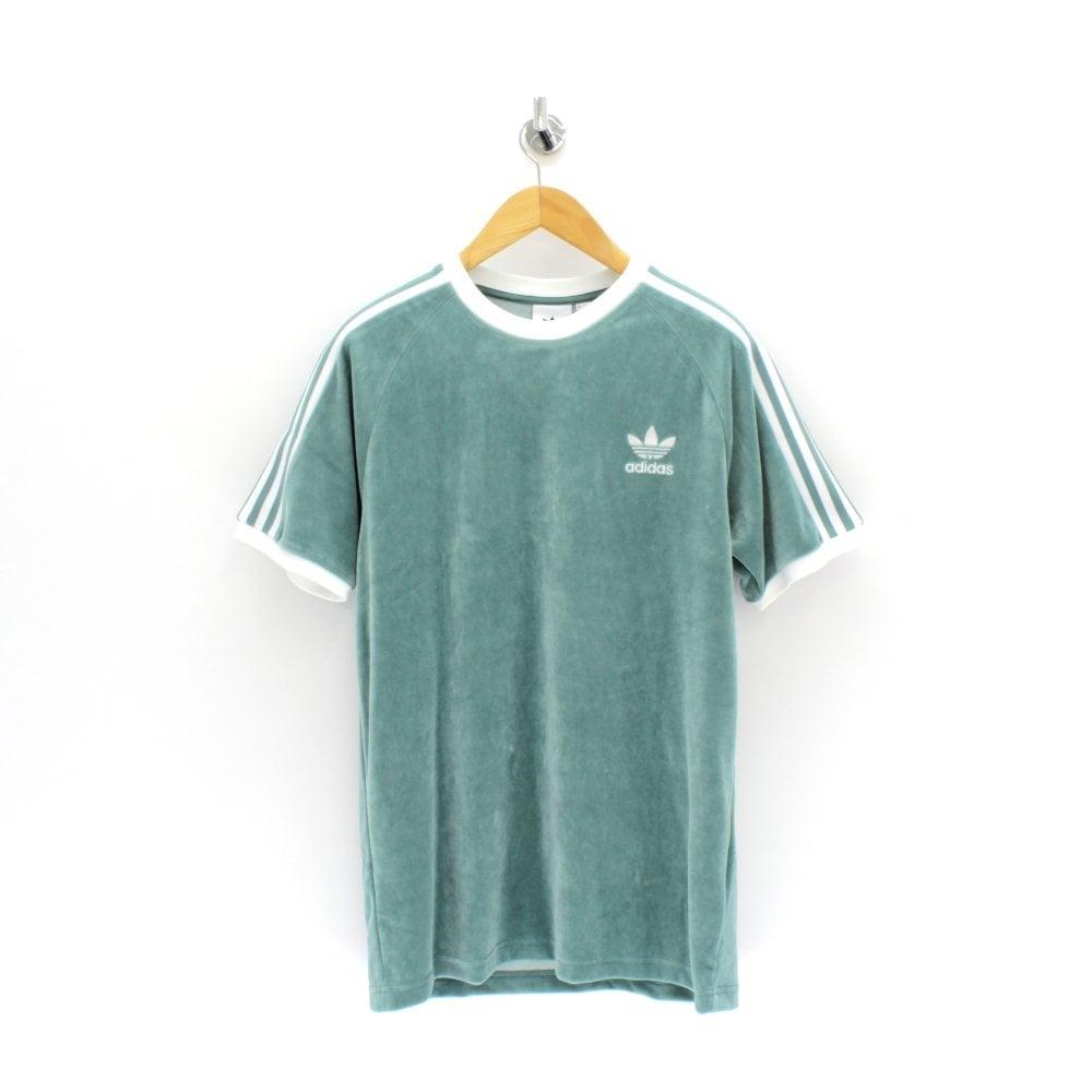 d298453f ADIDAS ORIGINALS CLOTHING Cosy Velour Green T-Shirt - Mens from PILOT UK