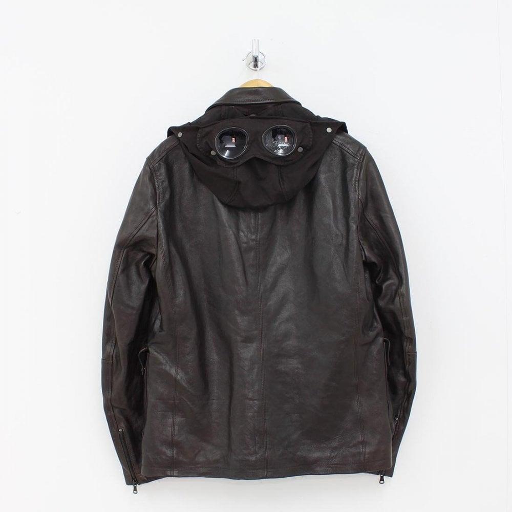 new concept 4e6c7 cf885 CP COMPANY CP Company Leather Goggle Jacket Brown