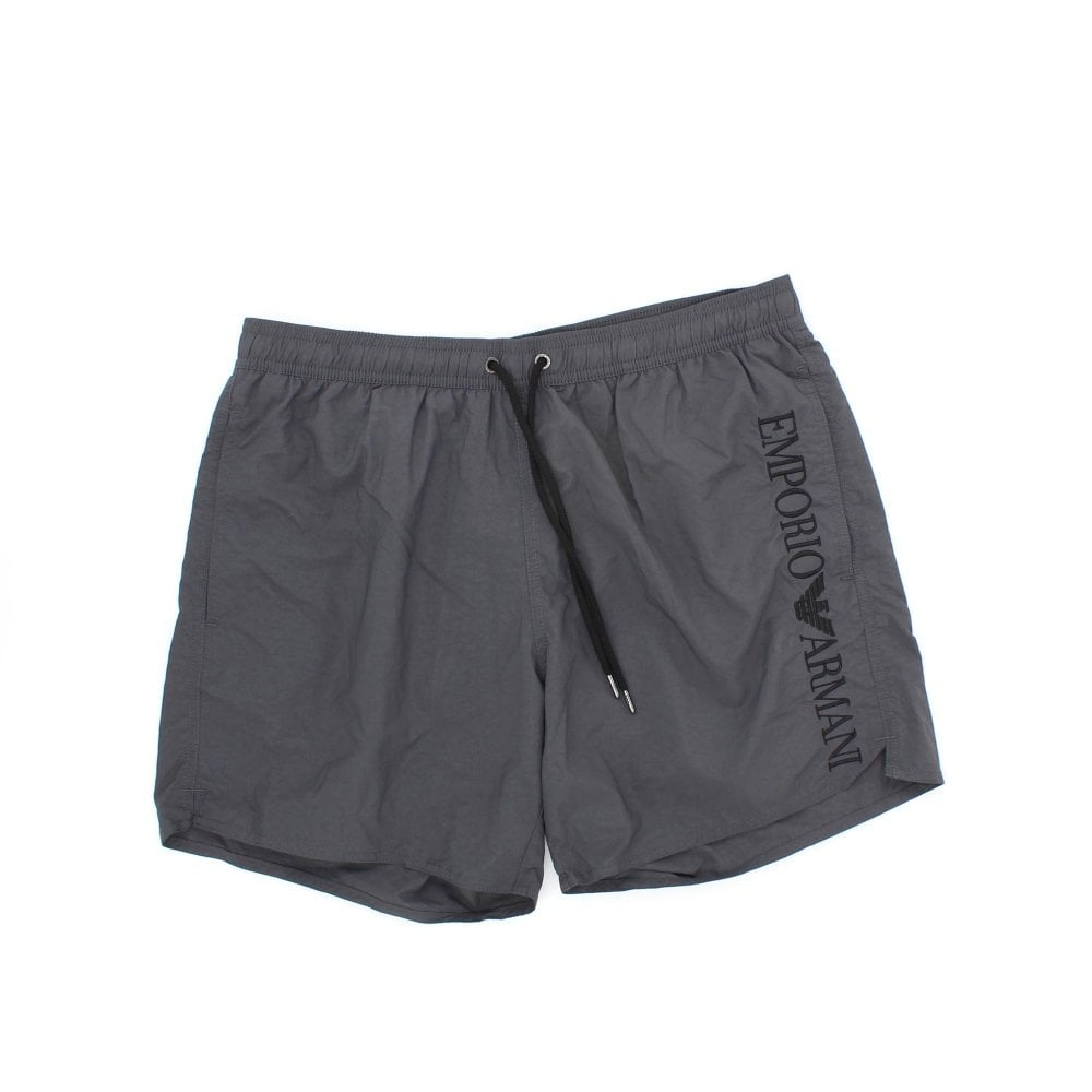 13a8c30a7a EMPORIO ARMANI Embroidered Logo Grey Swim Shorts - Mens from PILOT UK
