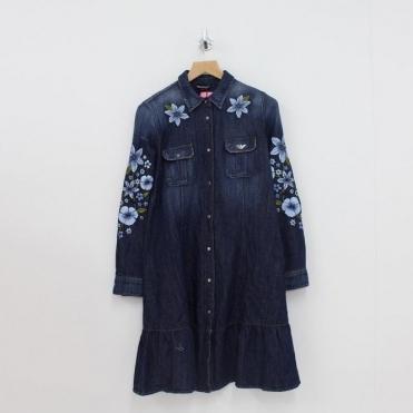 Emporio Armani Floral Button Through Dress Denim 0cf12f2acabea