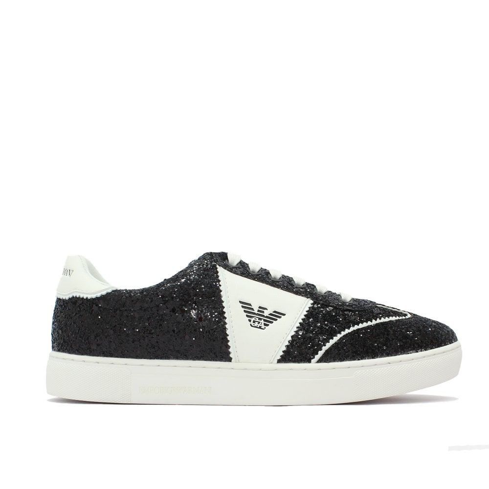 77d88c02b6ba EMPORIO ARMANI Monochrome Glitter Black Trainer - Womens from PILOT UK