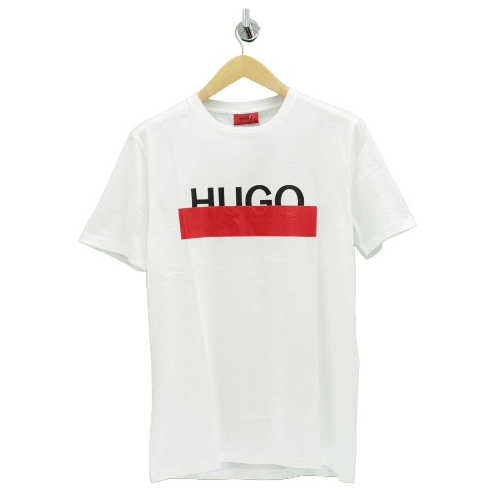 b8f16eb0f HUGO BY HUGO BOSS Dolive Taped Out Logo White T Shirt - Mens from ...
