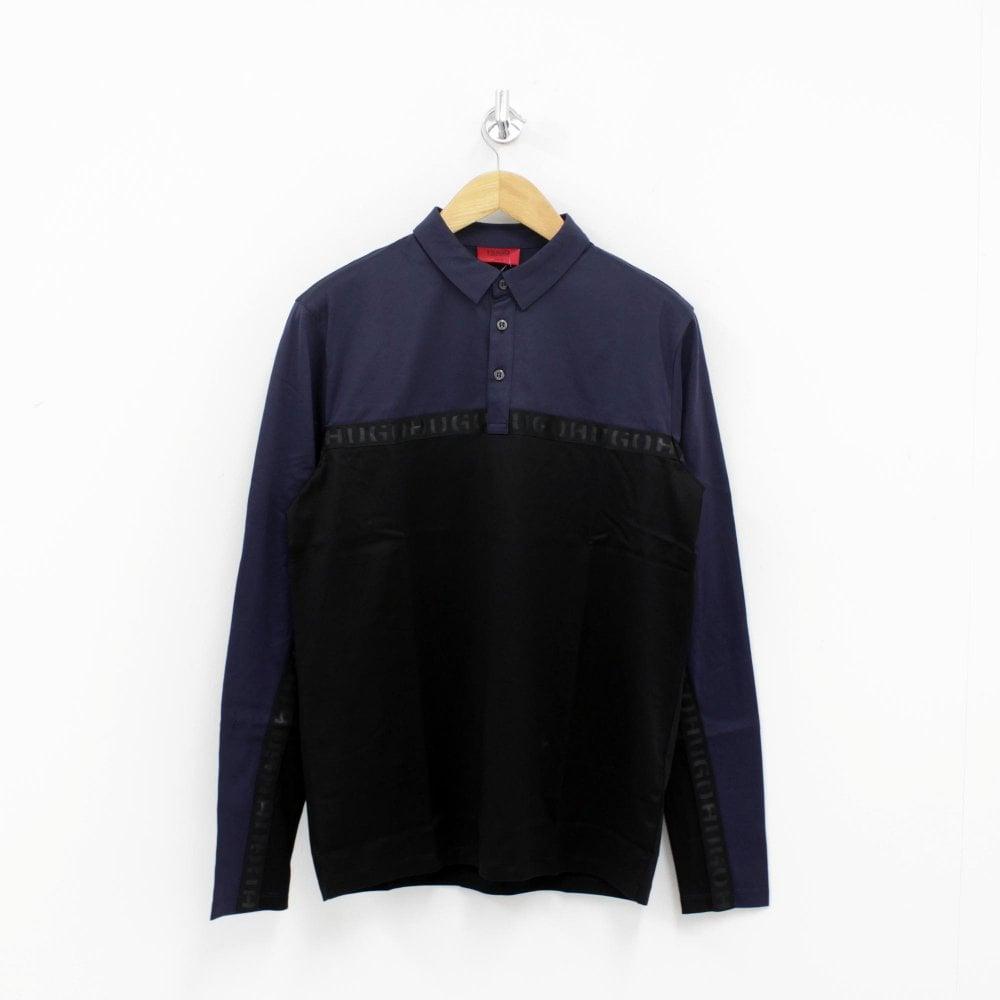 09e022b7 HUGO BY HUGO BOSS Doulon Long Sleeve Polo Shirt Black - Mens from ...