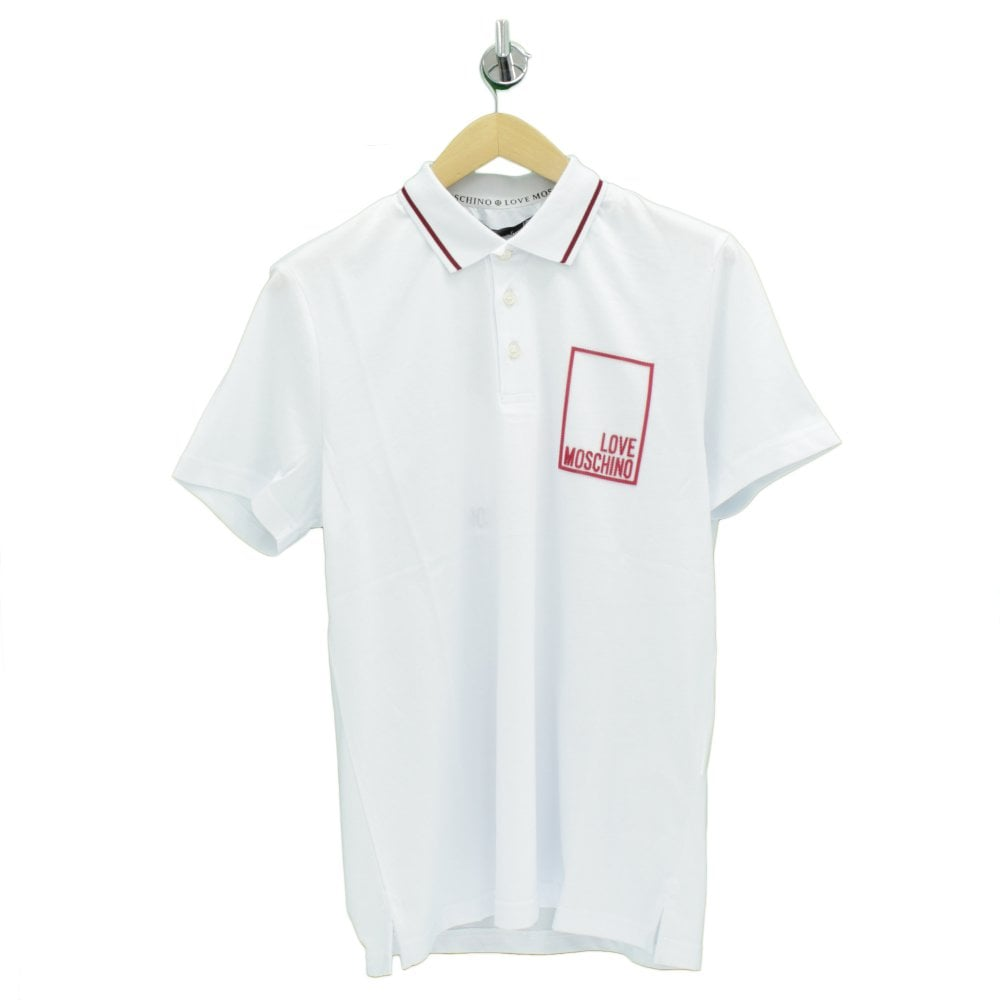 huge discount 5efd9 47bfd MOSCHINO Small Red Box White Polo