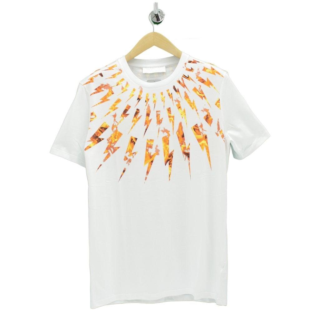 a274ebbf7 NEIL BARRETT Flame Thunderbolt White T Shirt - Mens from PILOT UK