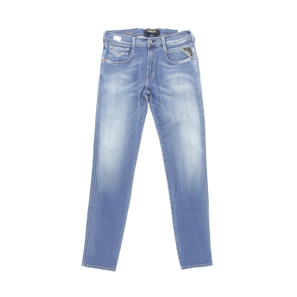 f71f504219e REPLAY Anbass Hyperflex Surf Blue Wash Jeans - Mens from PILOT UK