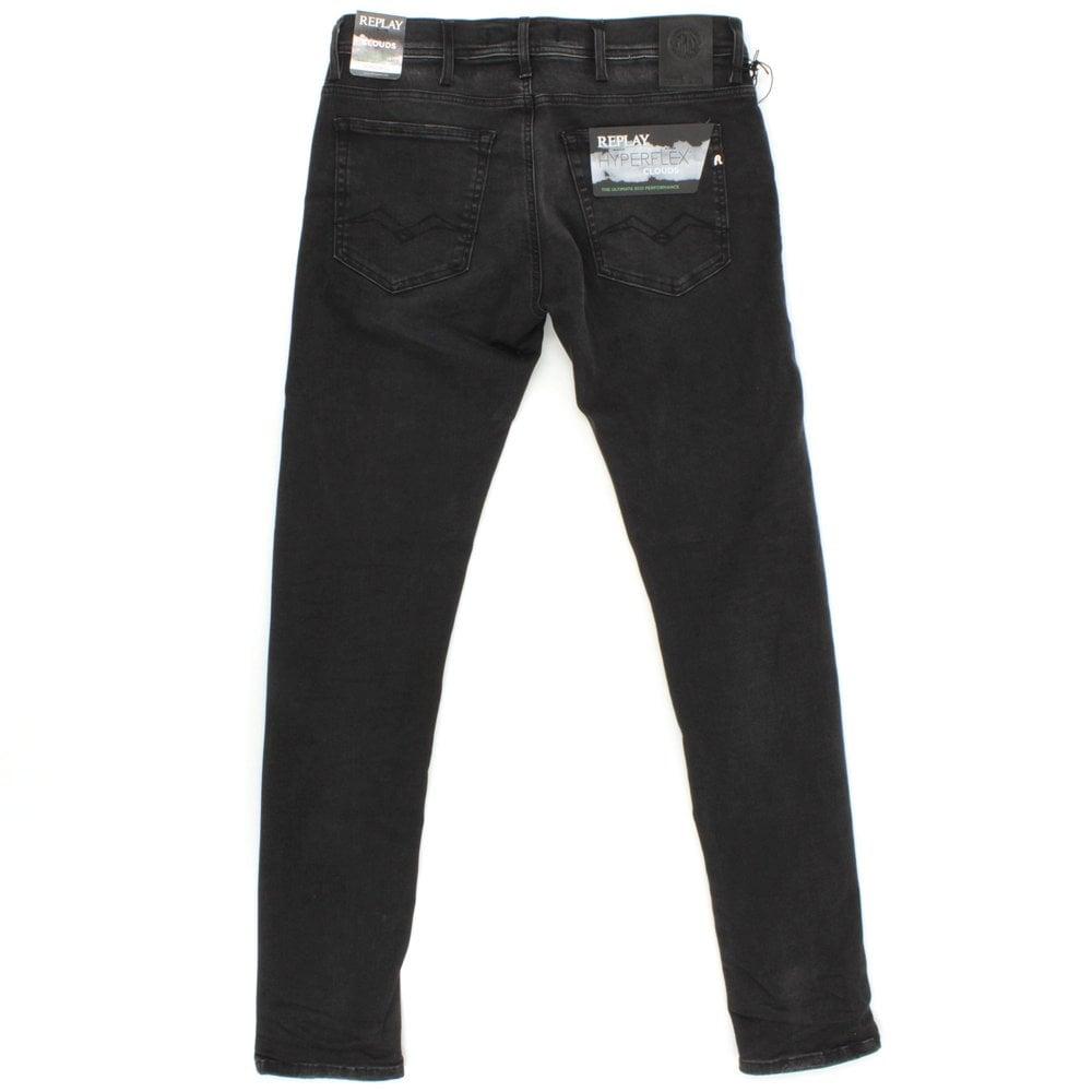 REPLAY Jondrill Cloud Hyperflex Washed Black Jean