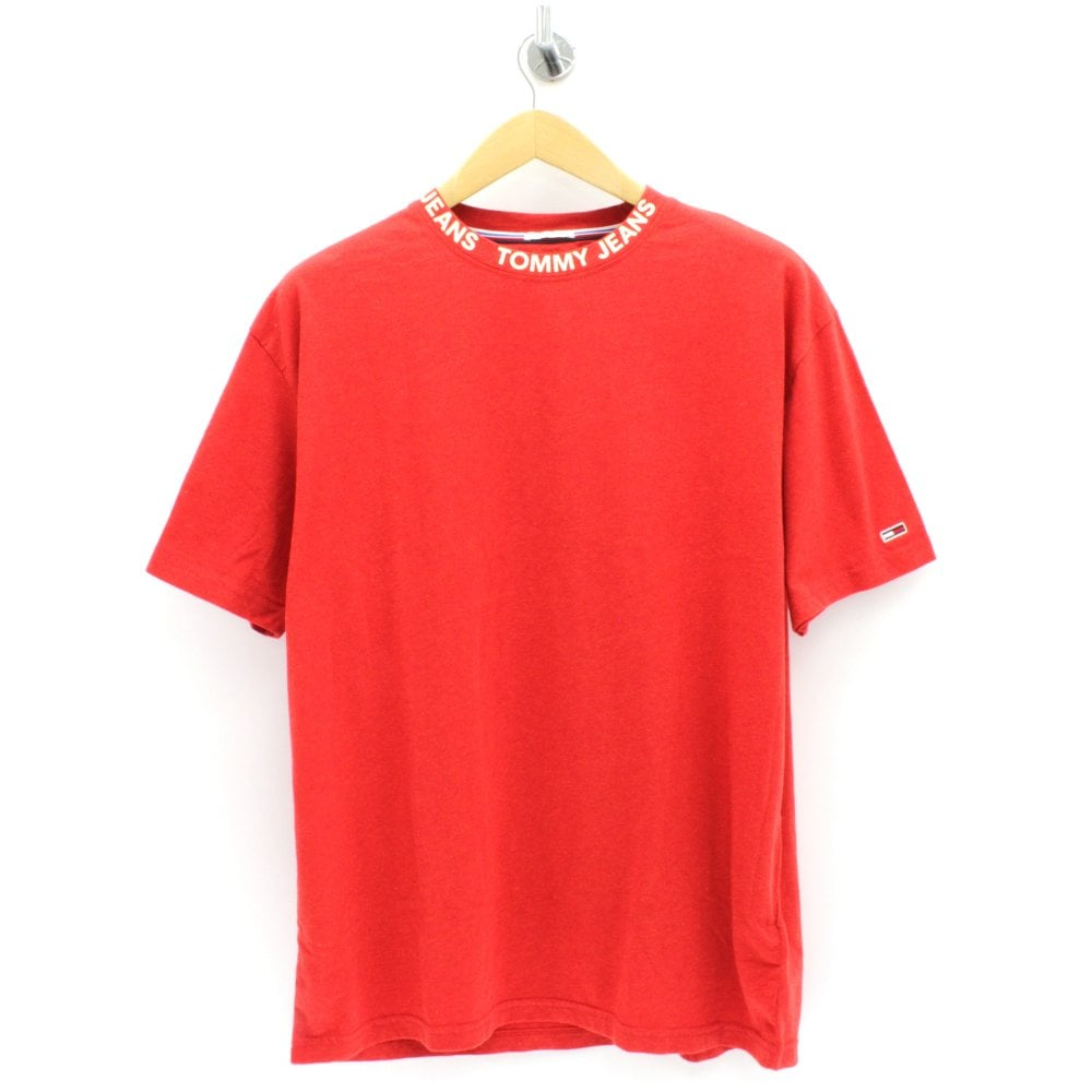 33595547 TOMMY HILFIGER Brand Collar Red T Shirt - Mens from PILOT UK