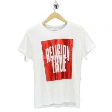 856ee6b0 Foil Box Logo White T Shirt Sale. TRUE RELIGION ...