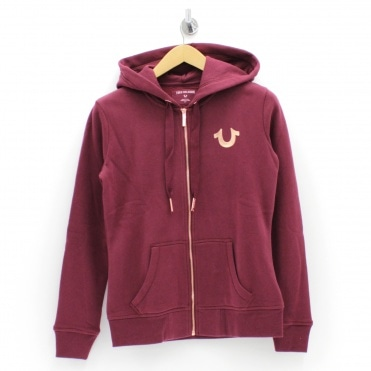 55733d3ec Matallic Logo Burgundy Hooded Sweatshirt. TRUE RELIGION ...
