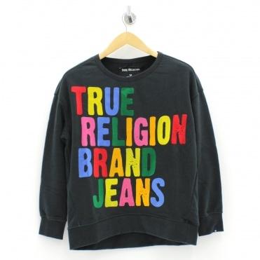 706b0778 Multi Coloured Logo Black Sweatshirt Sale · TRUE RELIGION ...