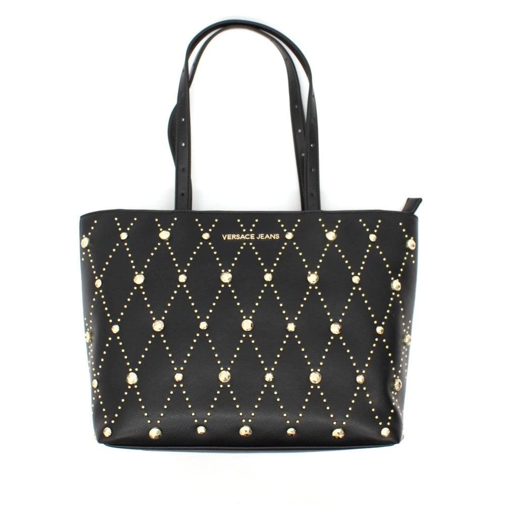 official best service choose original VERSACE JEANS COUTURE Medium Stud Tote Black Bag