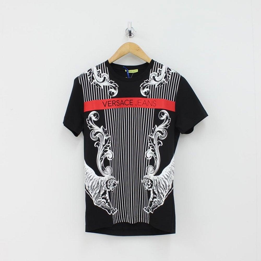 207e52e56 VERSACE JEANS Versace Jeans VJ Lion T-Shirt Black - T-Shirts from ...